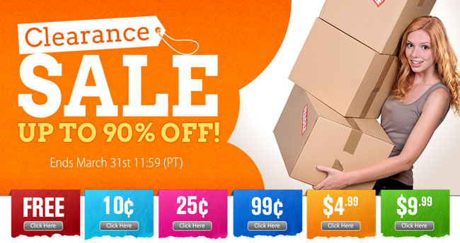 Save up to 90% OFF on Clearance Items!