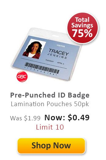 Pre-Punched ID Badge Lamination Pouches 50 pack
