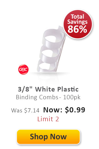 "3/8"" White Plastic Binding Combs"