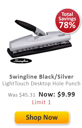 Swingline Black/Silver LightTouch Desktop Hole Punch