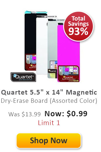 "Quartet 5.5"" x 14"" Magnetic Dry-Erase Frameless Board (Assorted Color)"