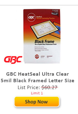 GBC HeatSeal Ultra Clear 5mil Black Framed Letter Size Laminating Pouches