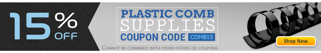 Save 15% OFF Plastic Comb Binding Supplies